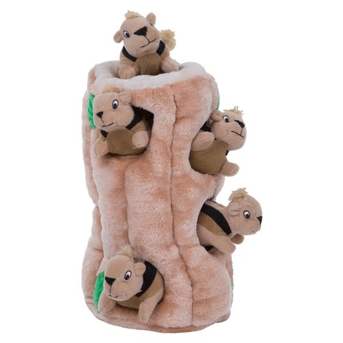 Outward Hound Hide-A-Squirrel Puzzle Plush Squeaking Interactive Dog Toy